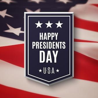 Fondo feliz día de los presidentes. banner encima de la bandera estadounidense.