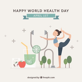 Fondo de feliz día de la salud con simpático personaje y elementos