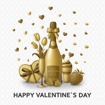 Fondo de feliz día de san valentín con champagne, regalo, flores y bayas