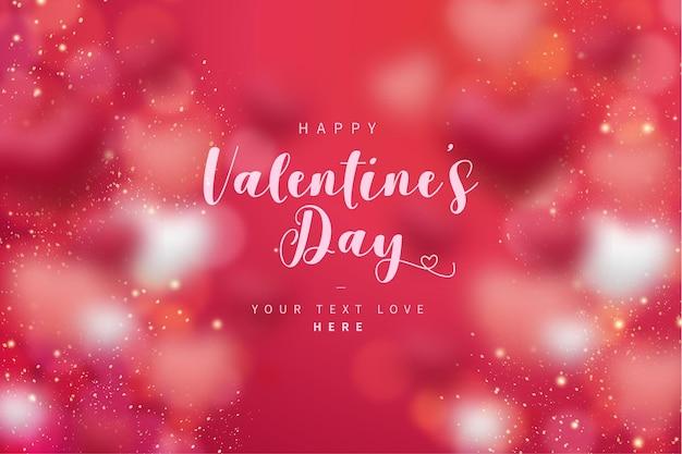 Fondo de feliz día de san valentín con corazones de bokeh