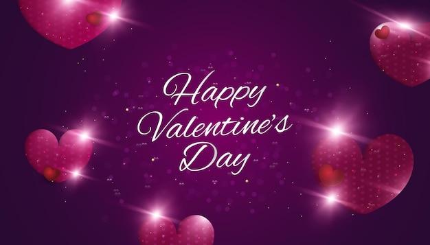 Fondo de feliz día de san valentín con corazones, destellos brillantes y efecto bokeh sobre fondo de papercut