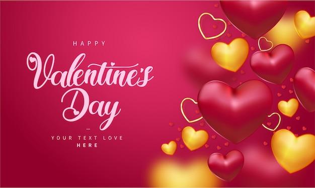 Fondo de feliz día de san valentín con corazones realistas