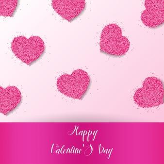 Fondo de feliz día de san valentín con corazones vector