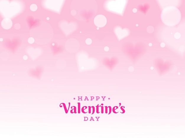 Fondo feliz día de san valentín decorado con forma de corazón blur