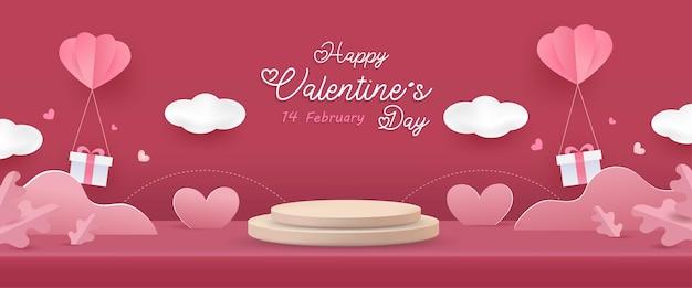 Fondo feliz día de san valentín. exhibición del producto del estudio de la escena del amor en rosa con elementos lindos.