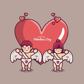 Fondo de feliz día de san valentín con pareja cupido y gran corazón amor