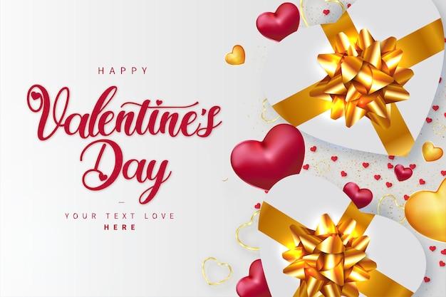 Fondo de feliz día de san valentín con regalos realistas de corazones dorados