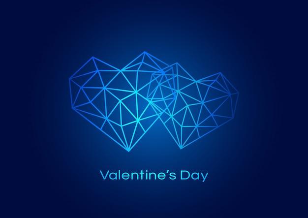 Fondo feliz del día de tarjetas del día de san valentín con el corazón geométrico