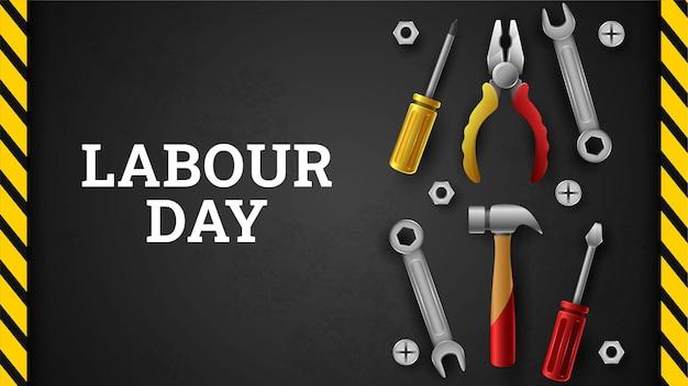 Fondo feliz día del trabajo con franja amarilla y herramientas