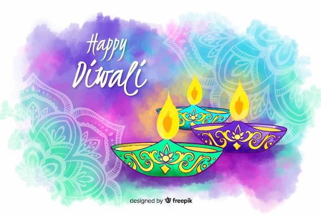 Fondo feliz diwali acuarela