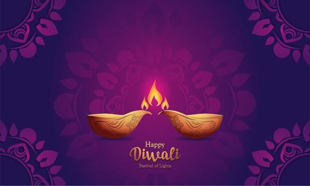 Fondo feliz diwali con adornos de mandala