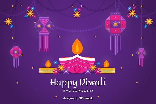 Fondo feliz diwali en diseño plano