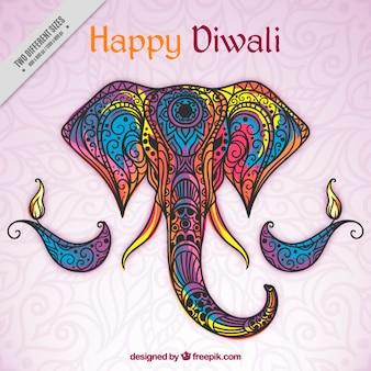 Fondo de feliz diwali de elefante de colores ornamental dibujado a mano