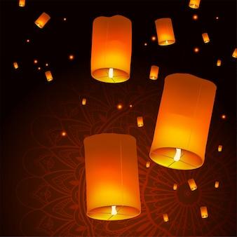 Fondo feliz de diwali holiday con las linternas del cielo flotando, concepto indio de la celebración del festival de luces.