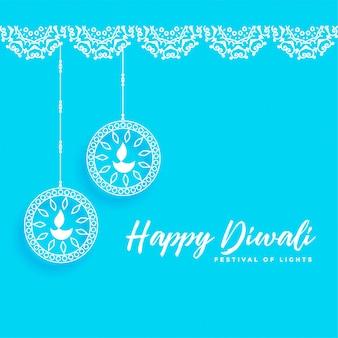 Fondo feliz diwali con lámparas de celebración