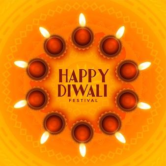 Fondo feliz diwali con marco circular diyas