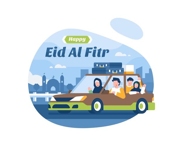 Fondo feliz de eid al fitr con la familia musulmana que va de vacaciones usando la ilustración de transporte de automóviles