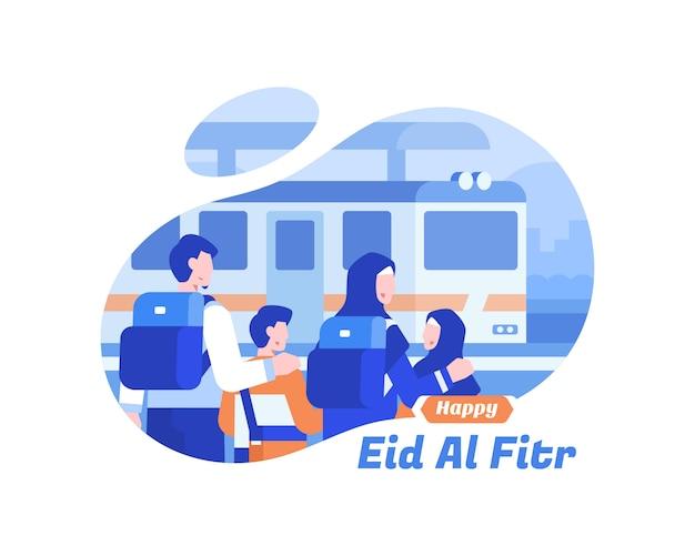 Fondo feliz de eid al fitr con la familia musulmana usando la ilustración de transporte de tren