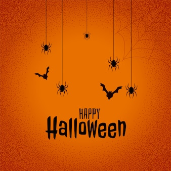 Fondo feliz festival de halloween con murciélagos y araña