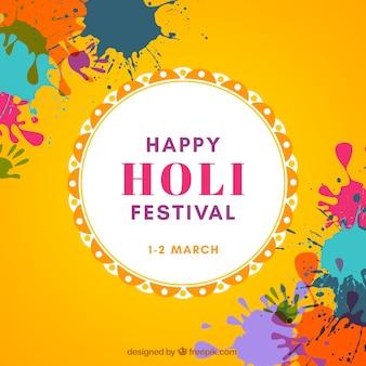 Fondo feliz festival holi en diseño plano