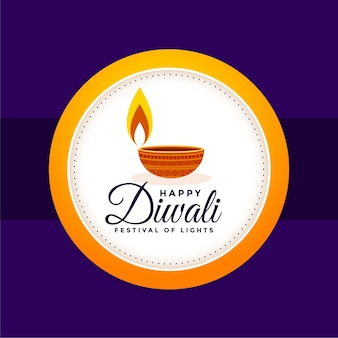 Fondo feliz festival indio diwali con diseño diya