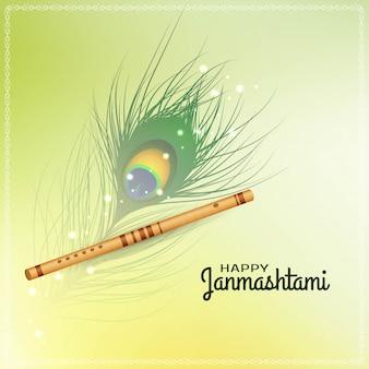 Fondo feliz festival janmashtami con flauta