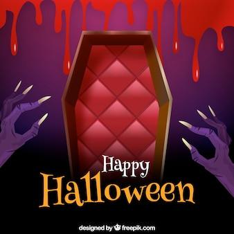 Fondo de feliz halloween con ataúd y manos