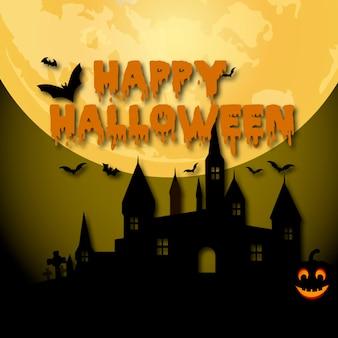 Fondo feliz de halloween con bruja de luna y murciélagos