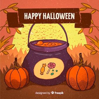 Fondo feliz halloween con caldero de bruja