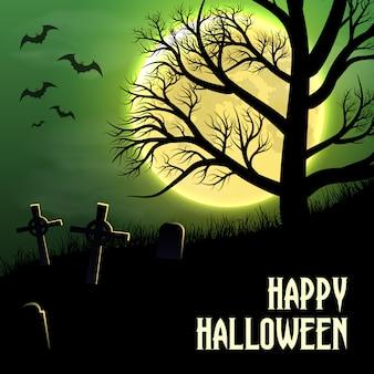 Fondo feliz halloween con cementerio, árboles y luna