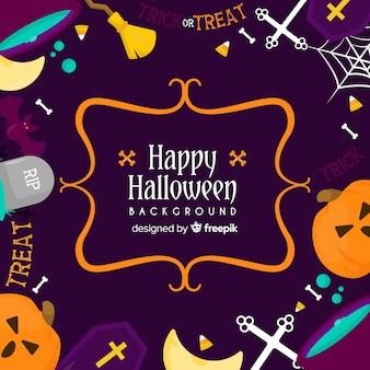 Fondo feliz halloween colorido con elementos