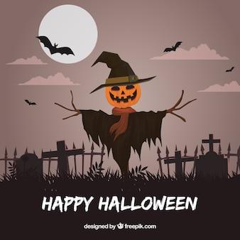 Fondo de feliz halloween con espantapájaros en el cementerio