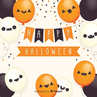 Fondo de feliz halloween con globos