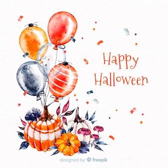 Fondo feliz halloween con globos