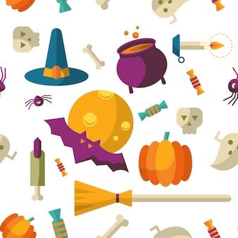 Fondo feliz halloween con iconos planos