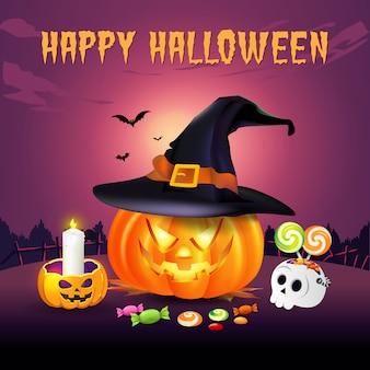 Fondo feliz halloween con jack o lantern en sombrero de bruja y dulces de halloween. ilustración para tarjeta, folleto, pancarta y póster de feliz halloween