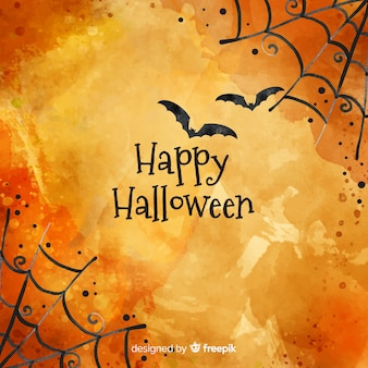 Fondo feliz halloween con telaraña y murciélagos