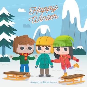 Fondo de feliz invierno con tres niños que van a montarse a trineos