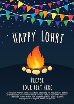 Fondo feliz de lohri con hoguera feliz festival de lohri