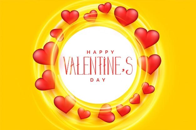 Fondo feliz del marco de los corazones del día de tarjetas del día de san valentín 3d
