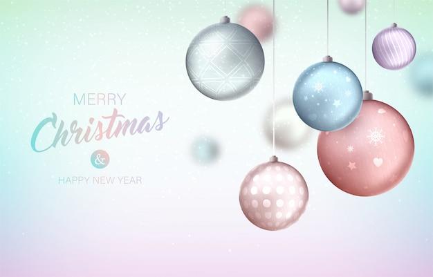 Fondo feliz navidad con adornos colgantes