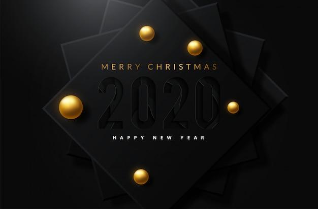 Fondo feliz navidad con adornos dorados y blancos brillantes