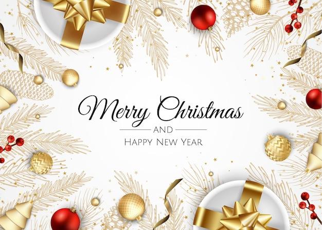Fondo feliz navidad con adornos navideños