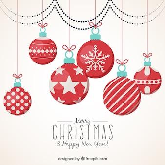 Fondo de feliz navidad y año nuevo con bolas ornamentales