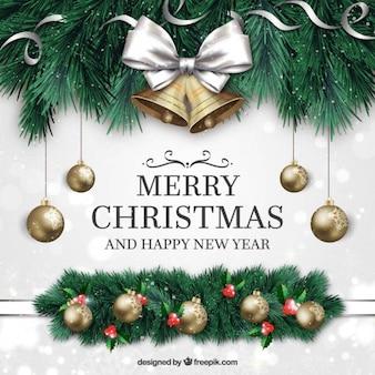 Fondo de feliz navidad y año nuevo con ornamentos en estilo realista