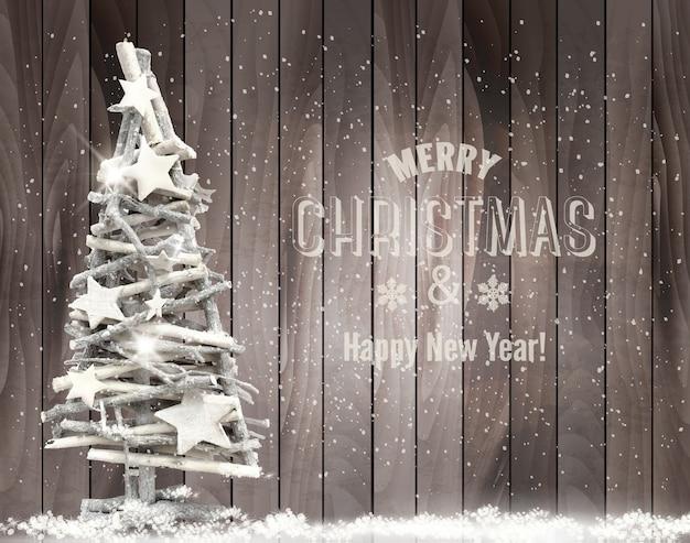 Fondo de feliz navidad con árbol de navidad y copos de nieve.
