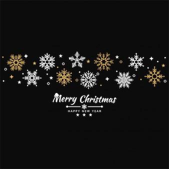 Fondo feliz navidad con banner de iconos de copo de nieve