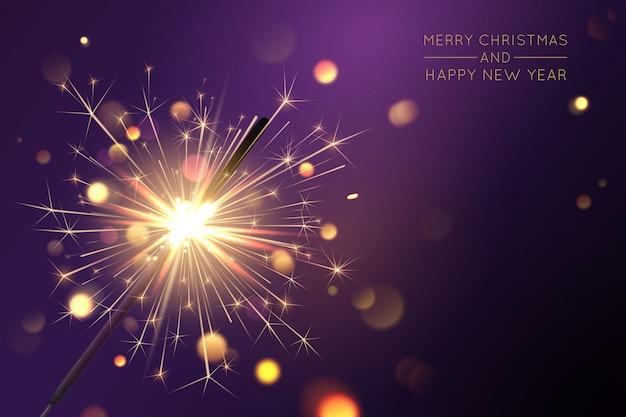 Fondo feliz navidad con bengala y efectos de luz