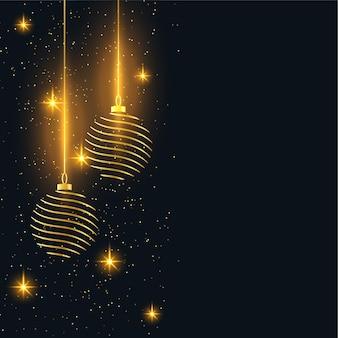 Fondo de feliz navidad con bolas doradas y destellos
