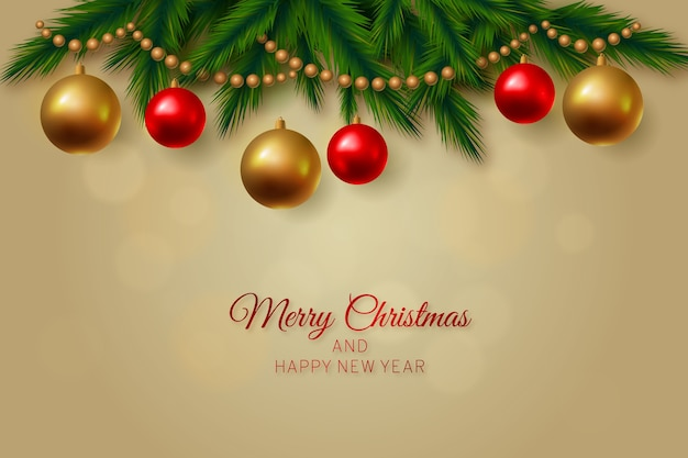 Fondo feliz navidad con bolas festivas colgantes